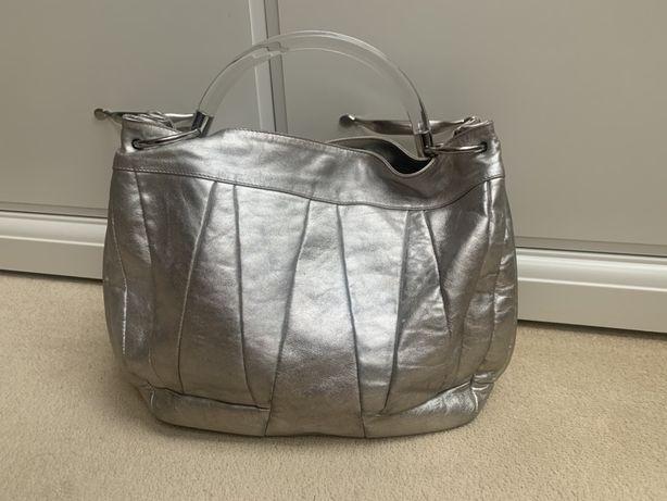 Furla torebka duża skórzana srebrna oryginał