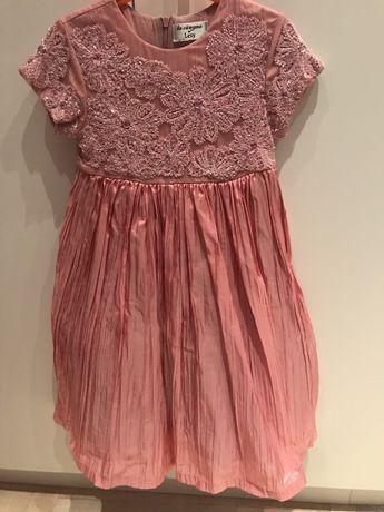 Włoska suknia na dziewczynkę 9-10L. Cekiny,koronka- sukienka na wesele