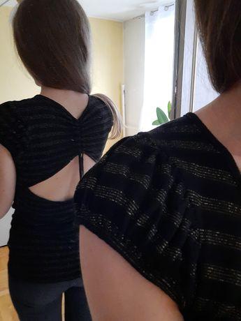 Bluzka z krótkim rękawem z wycięciem na plecach rozmiar S złota czarna
