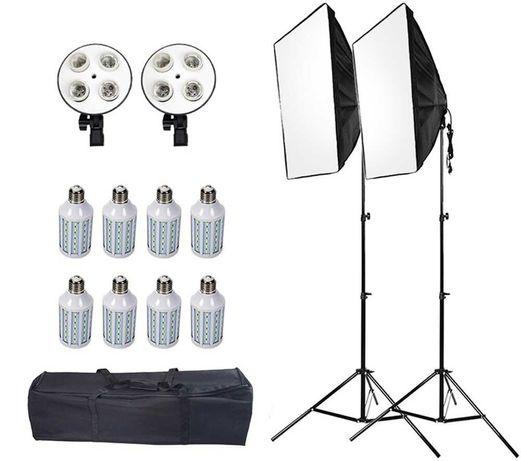 Постоянный студийный свет софтбоксы 2 шт, 8 LED ламп, 2 стойки + сумка
