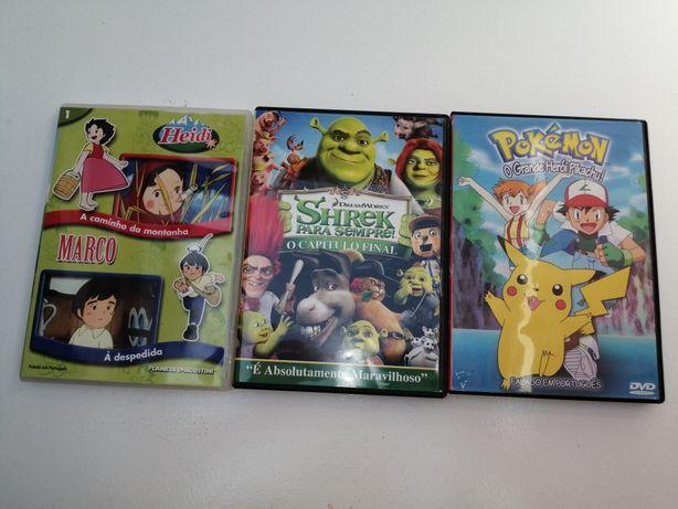 Lote 3 DVD - Pokémon, Heidi, Shrek