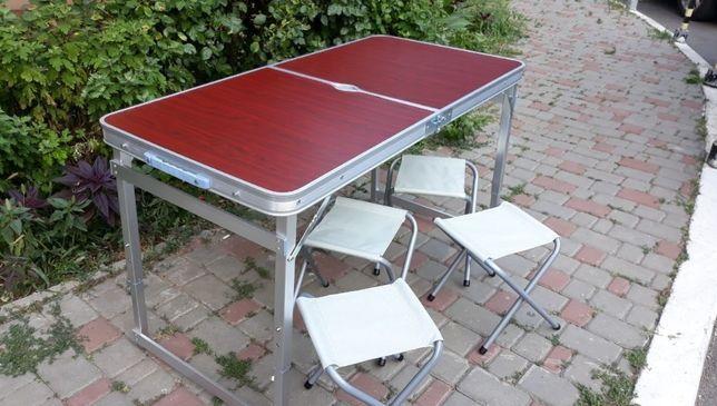 Усиленный стол для пикника + 4 стула + зонт, коричневый и другие