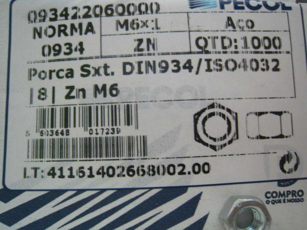 Porca sextavada DIN934 |8| Zn M6
