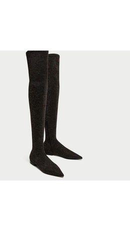 Шикарные ботфорты сапоги чулки zara 24 см