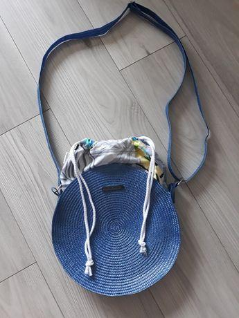 Okrągła torebka handmade z bawełnianym kominem