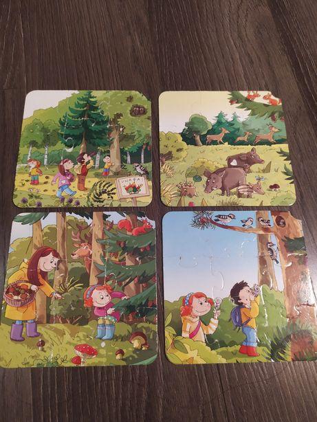 Puzzle - 4 małe układanki z leśnym motywem