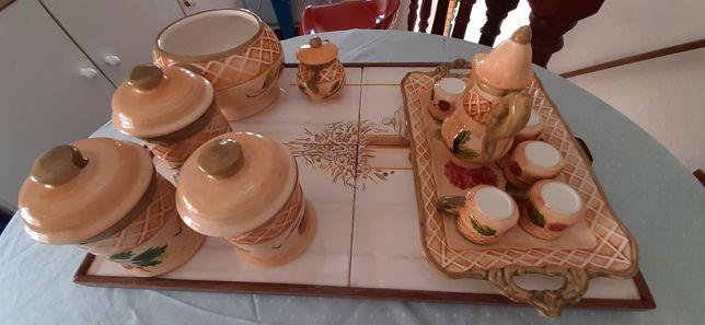 Tabuleiro de azulejos bais conjunto de café com14 peças