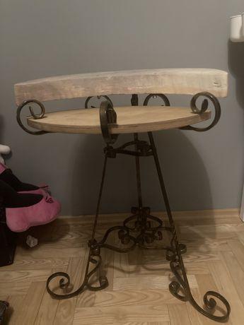 Recznie wykonany stolik drewno kamien