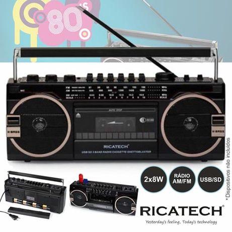Rádio Portátil AM/FM 2x8W 80s USB/SD RETRO RICATECH