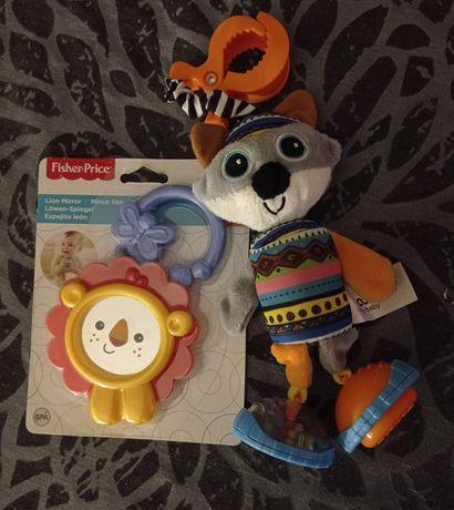 Погремушка-прорезыватель Fisher price и подвесная игрушка Miоobaby