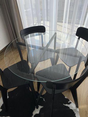 Stół okrągły szklany metalowa noga czarny