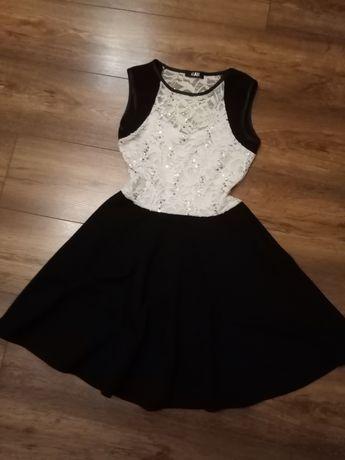 Sukienka rozkloszowana brokat koronka