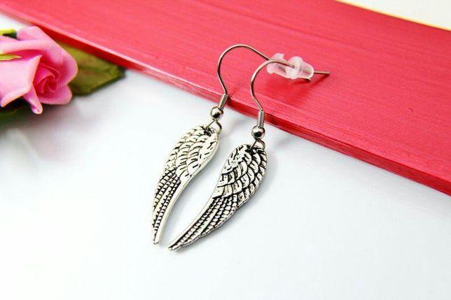 Серьги крыло ангела корона лезвие античное серебро ручная работа