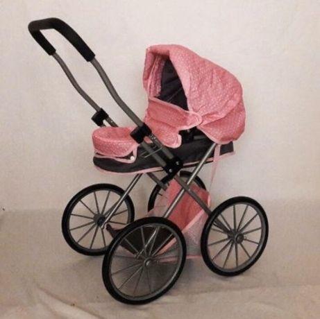 Коляска для кукол/ Большие колеса/Классика/ 69882BN розово-графитовая