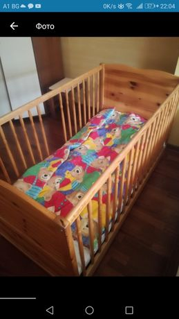 Детская кроватка, кровать (массив дерево)+ матрац из кокоса