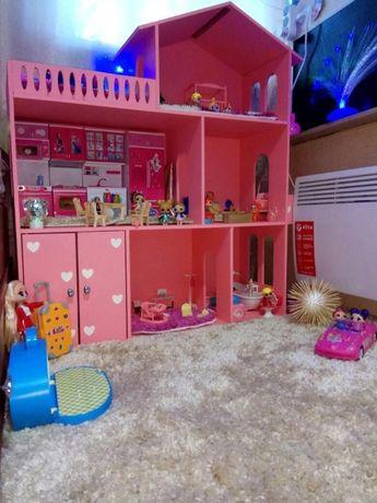 Кукольный домик 3 этажа Розовый, дом для кукол