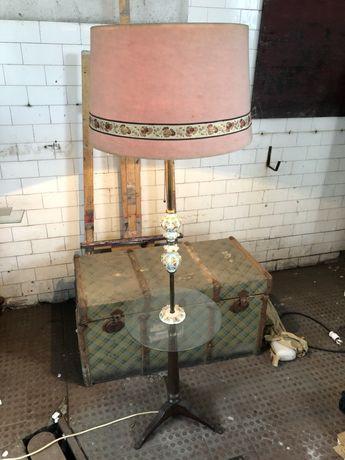 Candeeiro de pé em metal, apliques de metal porcelana abajour tecido