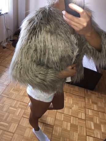 Zara futerko długi włos włosie futrzak beżowy cienowany suwak