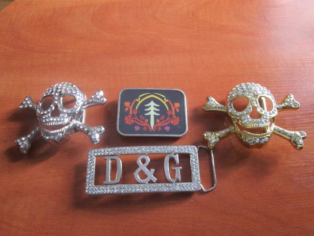 Klamry do paska - Czaszki - D&G - Chiński znak wysadzane kryształkami