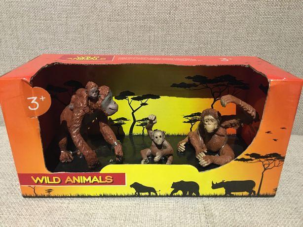 Kolekcjonerskie małpki figurki małpy rodzina NOWE zestaw
