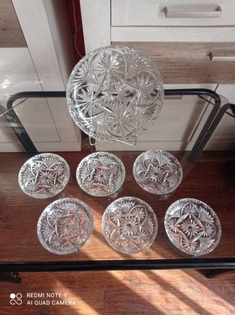 Patera kryształowa Plus 6 talerzyków komplet