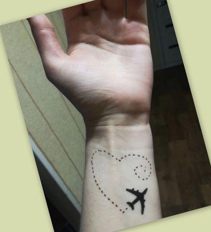 ...Tatuaż tymczasowy / henna / zmywalny /próbny -> samolot + serce ...
