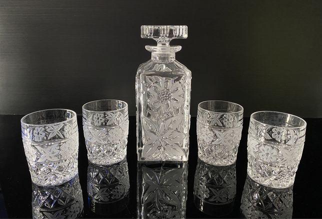 Przepiękna kryształowa karafka plus szklanki do whisky