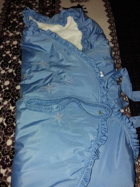 Конверт-одеяло на выписку зимний для мальчика