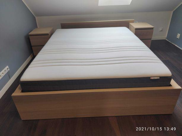 Łóżko IKEA MALM komplet z materacem i komodami