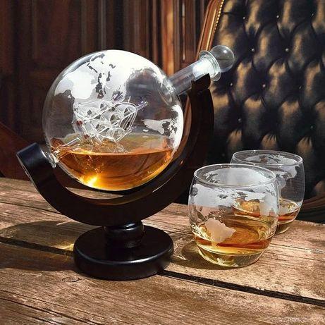 Karafka szklana globus ze szklankami Globe kolekcjonerska prezent
