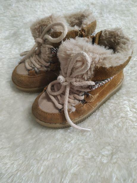 Zara skórzane buciki na zimę r. 20