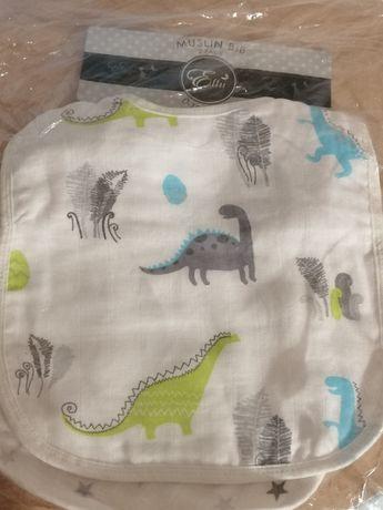 Nowe śliniaki muślinowe Effii 2 szt. Dinozaury Gwiazdki