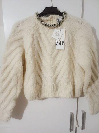 Piekny nowy sweter sweterek Zara welna alpaka kremowy S
