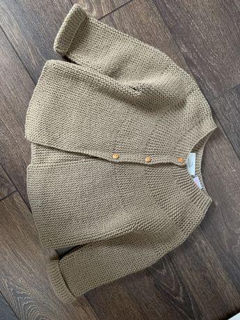 Sweterek sweter kardigan ZARA r. 80 brązowy beżowy