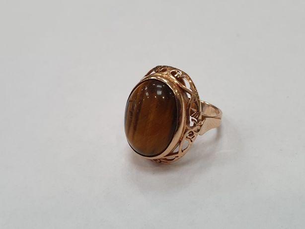 Tygrysie oko! Piękny złoty pierścionek/ 585/ 6.4 gram/ R10/ Gdynia