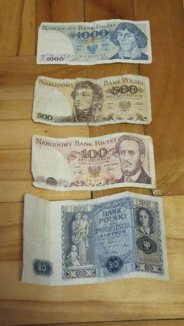 Stare Banknoty 1000zł, 500, 100 i 20zł NBP oraz kilka Tolarów Słowenii