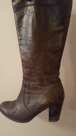 Kozaki skórzane, buty damskie brązowe 39