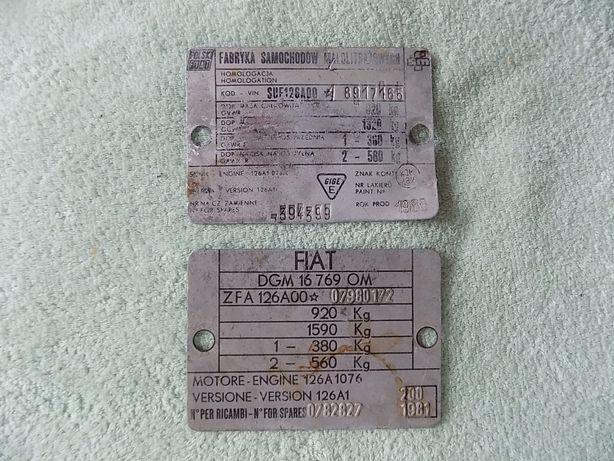 Tabliczki znamionowe FIAT 126p - 1981 i 1986r.