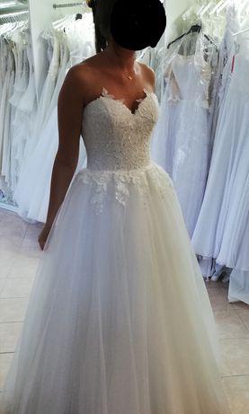 Suknia ślubna princeska 36-38, ecru