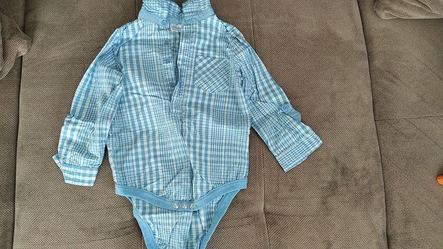 Koszulobody w kratkę niebieskie 92
