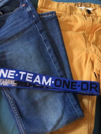 Dwie pary nowych spodni 140 H&M  + pasek
