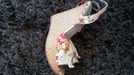 FIORE colection buty sandały na klinie korkowym jak nowe