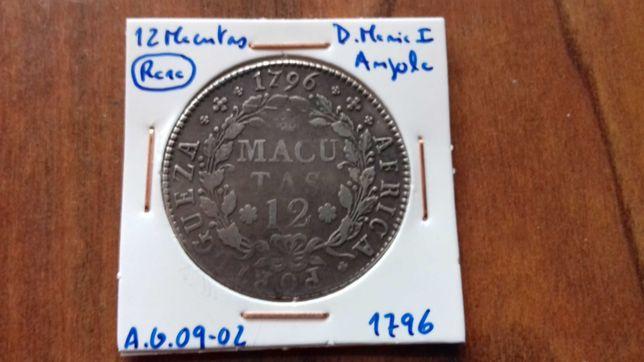 Moeda 12 Macutas 1796 D. Maria I - Angola  (Rara)