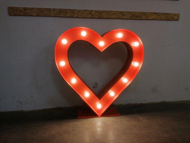 Serce żarówkowe 120x120cm z podstawą!