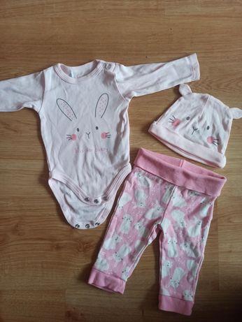Ubranka dla dziewczynki r. 56 pajacyk body śpiochy spodenki