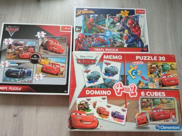 Zestaw puzzli,gier.Cars,Spiderman.