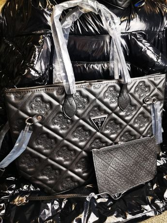 Torba Guess z saszetką torebka tłoczona duży napis logowana nowość