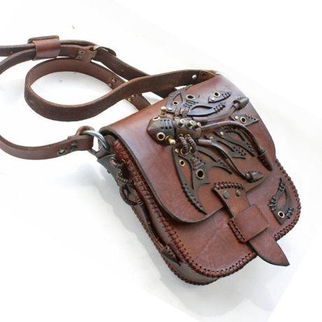 сумка из натуральной кожи в стимпанк стиле