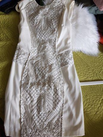 River Island dopasowana kremowa sukienka 38M wesele ślub chrzciny