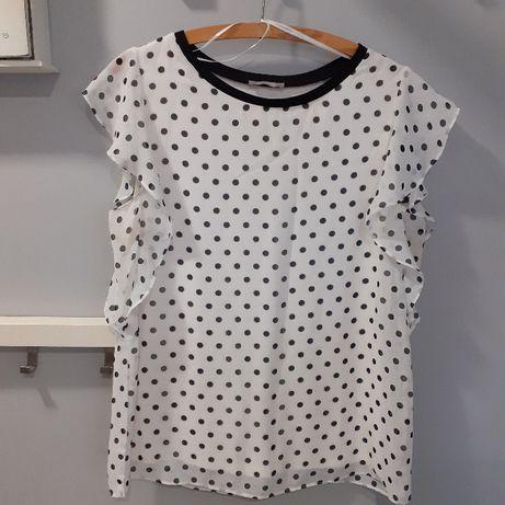 Elegancka biała bluzeczka w czarne kropki Orsay